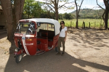 After taking a mini taxi to the archaeological site.